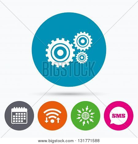 Wifi, Sms and calendar icons. Cog settings sign icon. Cogwheel gear mechanism symbol. Go to web globe.