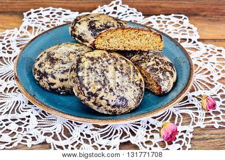 Freshly prepared delicious Gingerbread, Honey Cake. Studio Photo