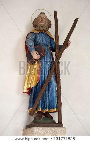 IHLINGEN, GERMANY - OCTOBER 21: Statue of Saint Andrew in the church of Saint James in Ihlingen, Germany on October 21, 2014.