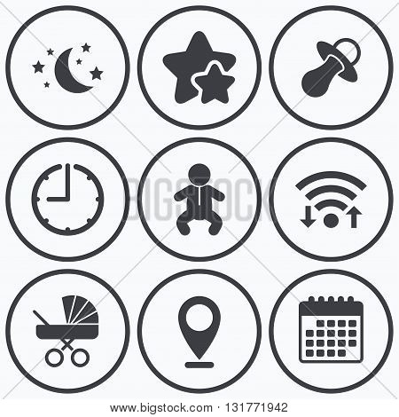 Clock, wifi and stars icons. Moon and stars symbol. Baby infants icon. Buggy and dummy signs. Child pacifier and pram stroller. Calendar symbol.