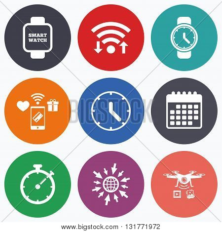 Wifi, mobile payments and drones icons. Smart watch icons. Mechanical clock time, Stopwatch timer symbols. Wrist digital watch sign. Calendar symbol.