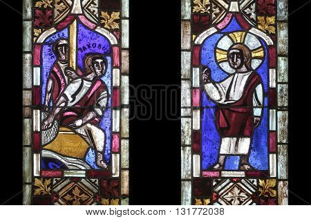 IHLINGEN, GERMANY - OCTOBER 21: Stained glass window in the church of Saint James in Ihlingen, Germany on October 21, 2014.