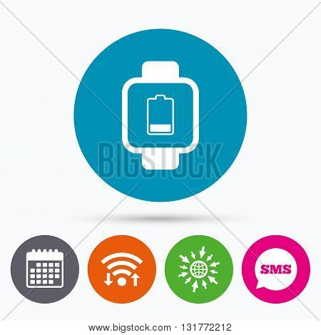 Wifi, Sms and calendar icons. Smart watch sign icon. Wrist digital watch. Low battery energy symbol. Go to web globe.