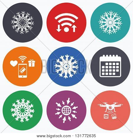 Wifi, mobile payments and drones icons. Snowflakes artistic icons. Air conditioning signs. Christmas and New year winter symbols. Frozen weather. Calendar symbol.