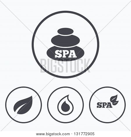 Spa stones icons. Water drop with leaf symbols. Natural tear sign. Icons in circles.