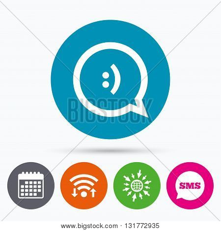 Wifi, Sms and calendar icons. Chat sign icon. Speech bubble with smile symbol. Communication chat bubbles. Go to web globe.