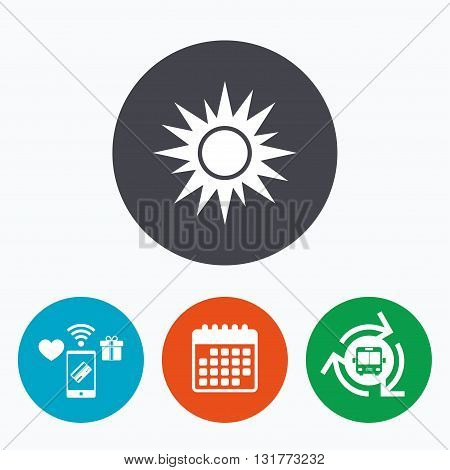 Sun sign icon. Solarium symbol. Heat button. Mobile payments, calendar and wifi icons. Bus shuttle.