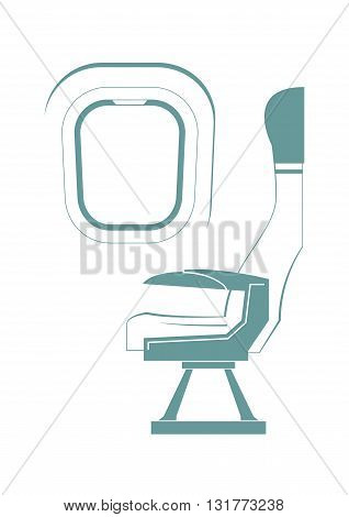 Aircraft seat and porthole isolated on background. Vector illustration.