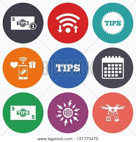 Wifi, mobile payments and drones icons. Tips icons. Cash with coin money symbol. Star sign. Calendar symbol.