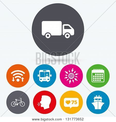 Wifi, like counter and calendar icons. Transport icons. Truck, Bicycle, Public bus with driver and Ship signs. Shipping delivery symbol. Family vehicle sign. Human talk, go to web.