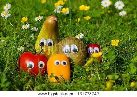 Funny vegetables and fruits with eyes on a flower meadow