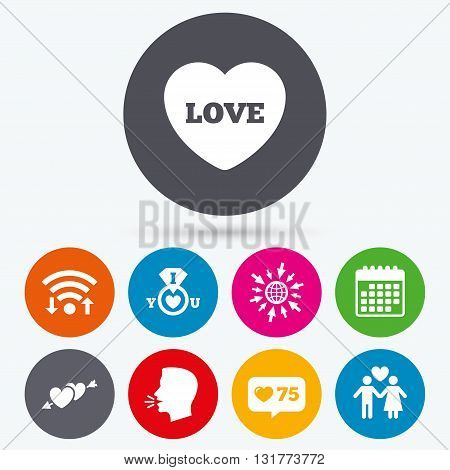 Wifi, like counter and calendar icons. Valentine day love icons. I love you ring symbol. Couple lovers sign. Human talk, go to web.