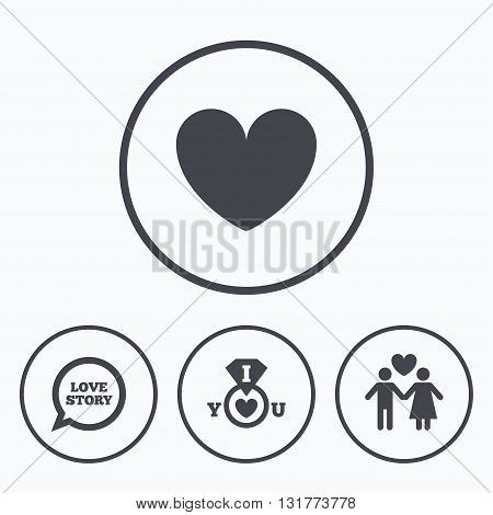 Valentine day love icons. I love you ring symbol. Couple lovers sign. Love story speech bubble. Icons in circles.
