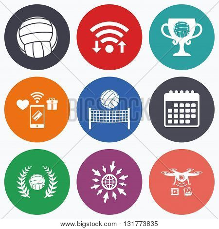 Wifi, mobile payments and drones icons. Volleyball and net icons. Winner award cup and laurel wreath symbols. Beach sport symbol. Calendar symbol.