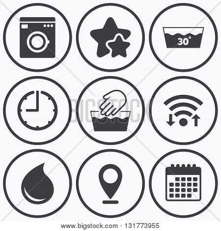 Clock, wifi and stars icons. Hand wash icon. Machine washable at 30 degrees symbols. Laundry washhouse and water drop signs. Calendar symbol.