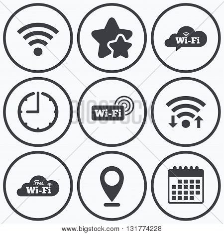 Clock, wifi and stars icons. Free Wifi Wireless Network cloud speech bubble icons. Wi-fi zone sign symbols. Calendar symbol.