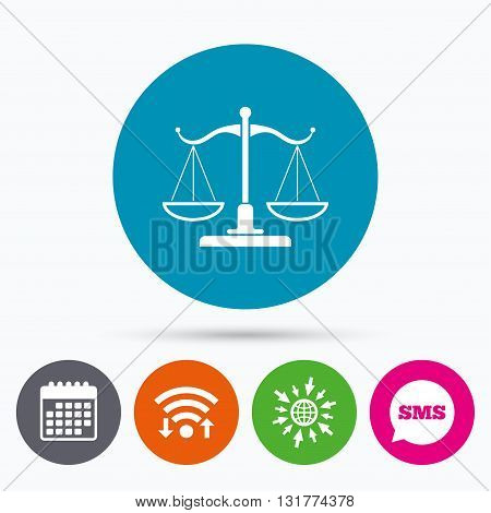 Wifi, Sms and calendar icons. Scales of Justice sign icon. Court of law symbol. Go to web globe.
