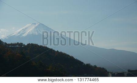 Breathtakingly and beautiful Mount Fuji in autumn from Kawaguchi - Japan