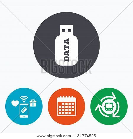 Usb Stick sign icon. Usb flash drive button. Mobile payments, calendar and wifi icons. Bus shuttle.