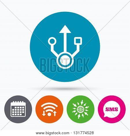 Wifi, Sms and calendar icons. Usb sign icon. Usb flash drive symbol. Go to web globe.