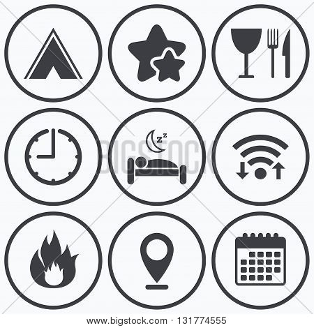 Clock, wifi and stars icons. Food, sleep, camping tent and fire icons. Knife, fork and wineglass. Hotel or bed and breakfast. Road signs. Calendar symbol.