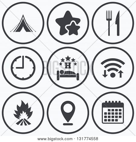 Clock, wifi and stars icons. Food, sleep, camping tent and fire icons. Knife and fork. Hotel or bed and breakfast. Road signs. Calendar symbol.