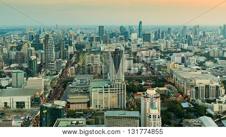 Aerial view, Bangkok central business downtown during sunset