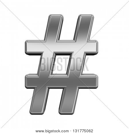Number mark from titanium alphabet set, isolated on white. 3D illustration.