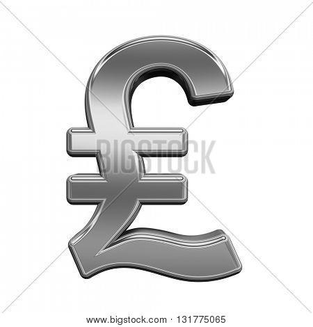 Pound sign from titanium alphabet set, isolated on white. 3D illustration.