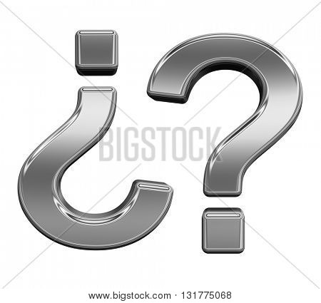Question mark from titanium alphabet set, isolated on white. 3D illustration.
