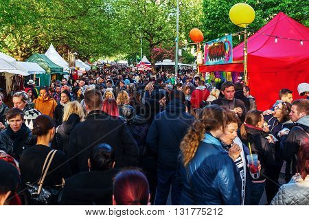 Berlin Germany - May 15 2016: unidentified people at street festival in Berlin-Kreuzberg together with the famous Carnival of Cultures under the slogan of peace tolerance and multiculturalism