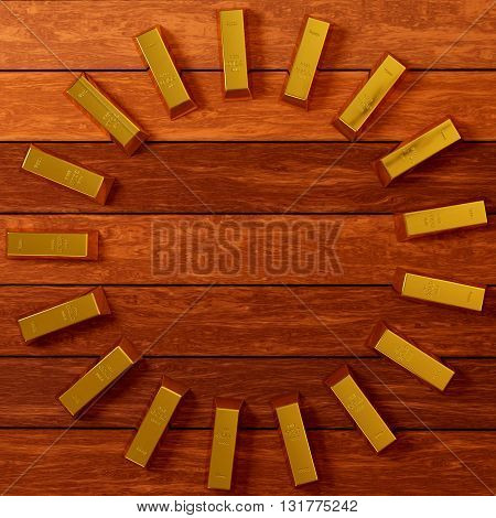 rendered gold bars in circle shape on the planks view from above, 3d rendering