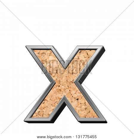 One lower case letter from cork with silver shiny frame alphabet set, isolated on white. 3D illustration.