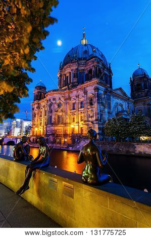 Berlin Germany - May 16 2016: night view of Berlin Cathedral. The current building was finished in 1905 and is a main work of Historicist architecture of the Imperial Era