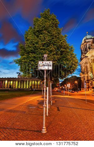 Berlin Germany - May 16 2016: night view of Lustgarten. It is a park on Museum Island near the site of the former Berlin City Palace of which it was originally a part.