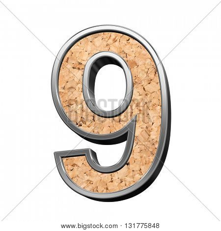 One digit from cork with silver shiny frame alphabet set, isolated on white. 3D illustration.