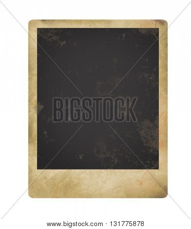Old grungy photo isolated on white