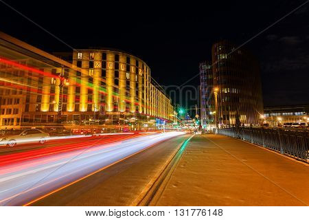 Berlin Germany - May 16 2016: night view of Friedrichstrasse in Berlin. The Friedrichstraße is a major culture and shopping street in central Berlin.