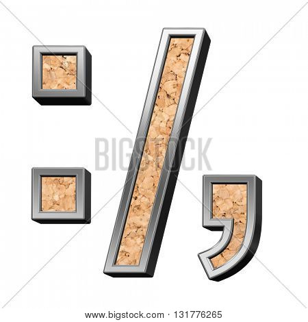 Colon, semicolon, period, comma from cork with silver shiny frame alphabet set, isolated on white. 3D illustration.
