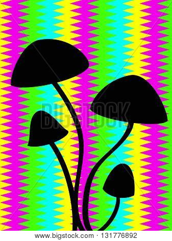 black outline of hallucinogenic mushrooms over the psychodelic stripped background