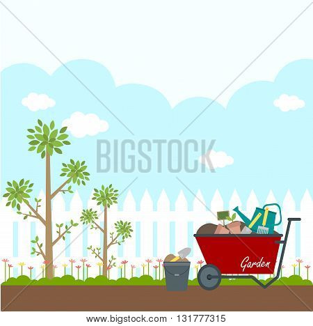 flat illustration of garden white fence with trees