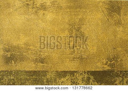 ROUGH WEATHERED WALL, GOLD PAINT, CLOSEUP BACKGROUND
