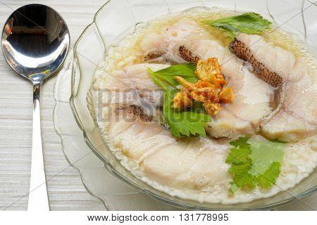 close up Fish porridge in Thai style
