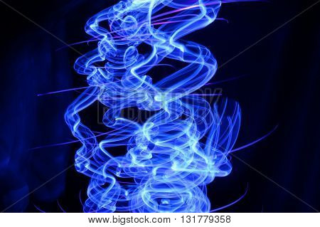 Abstract Design Created with Blue LED light and Light Painting Techniques