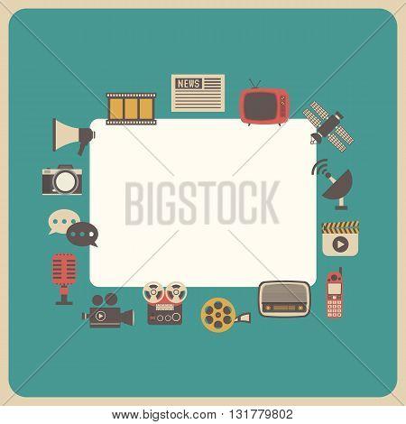 the communication icon retro technology analog style