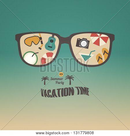 retro summer poster travel equipment set relax activities