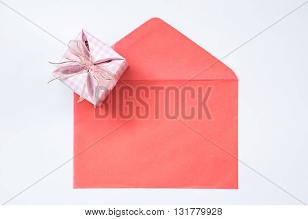gift box and red envelope on white background