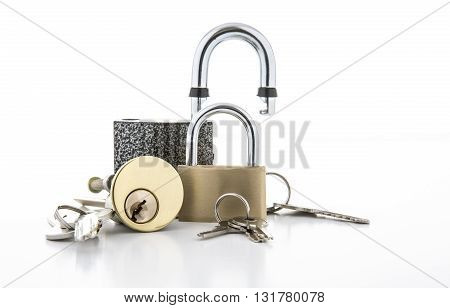 Colection of Locks on a white background