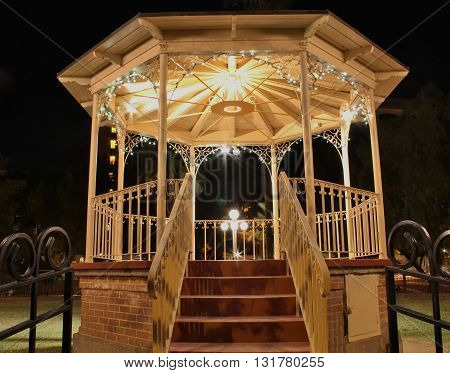 Beautifully Lit Gazebo at Night in Downtown Courtyard