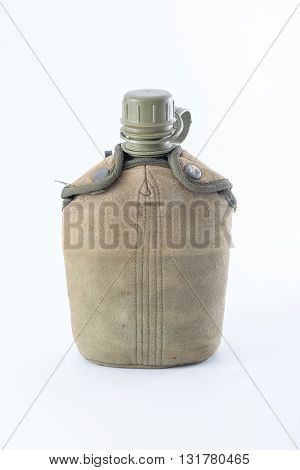 Military canteen isolate on a white background